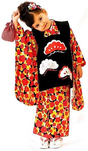 七五三 3才 3歳 三才 三歳 女児 女の子 被布着物祝着フルセット 日本製 式部浪漫 松柄 ポリエステル 新品(株)安田屋g254110941