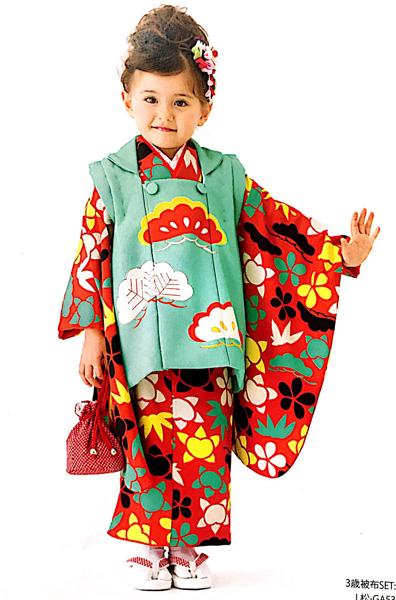 七五三 3才 3歳 三才 三歳 女児 女の子 被布着物祝着フルセット 日本製 式部浪漫 松柄 ポリエステル 新品(株)安田屋g254110945