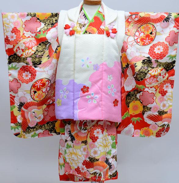 七五三 3才 3歳 三才 三歳 女児 女の子 被布着物祝着フルセット 式部浪漫 生地は日本製 ポリエステル 新品(株)安田屋j471656606