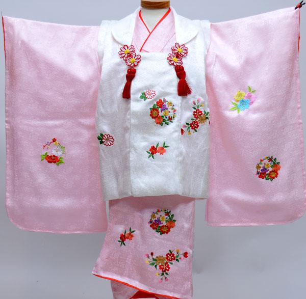 七五三 3才 3歳 三才 三歳 正絹 女児 女の子 被布着物祝着フルセット 日本製 柄刺繍 式部浪漫 新品(株)安田屋w217864289