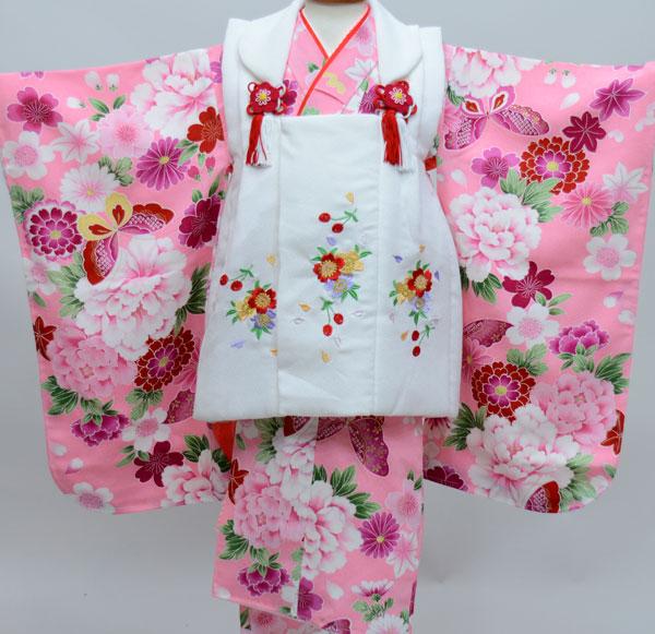 七五三 3才 3歳 三才 三歳 女児 女の子 被布着物祝着フルセット 被布と着物生地は日本製 染め加工日本 縫製と長襦袢は海外 新品(株)安田屋 x525954147