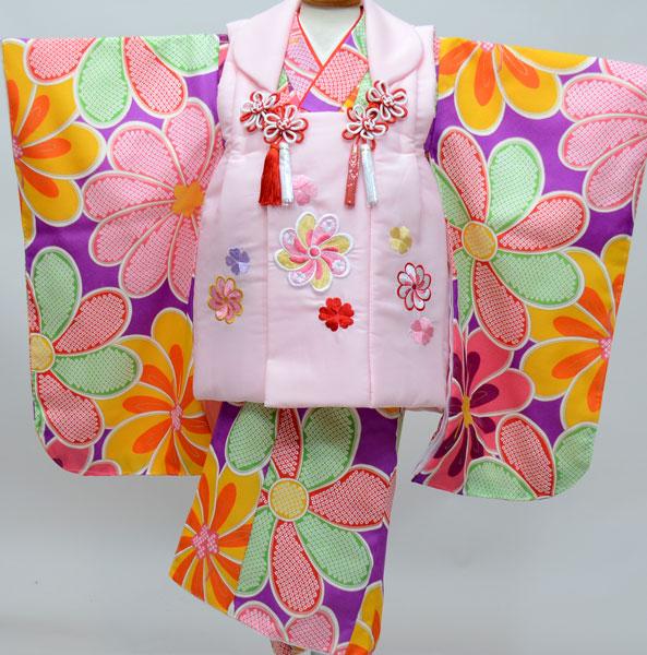 七五三 3才 3歳 三才 三歳 女児 女の子 被布着物祝着フルセット 被布と着物生地は日本製 染め加工日本 縫製と長襦袢は海外 新品(株)安田屋 x525954127