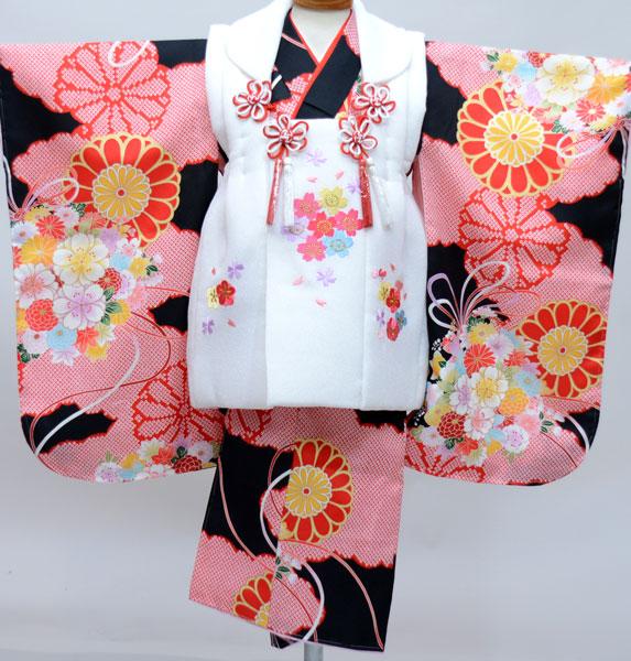 七五三 3才 3歳 三才 三歳 女児 女の子 被布着物祝着フルセット 被布と着物生地は日本製 染め加工日本 縫製と長襦袢は海外 新品(株)安田屋 x525954119