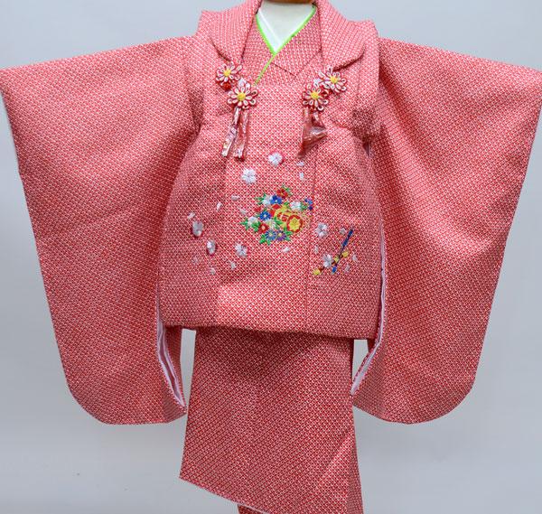 七五三 3才 3歳 三才 女児 三歳 被布祝着着物フルセット 総柄鹿子模様 刺繍入り 被布と着物生地は日本製 アセテート90% ナイロン10% 新品(株)安田屋 b295659816