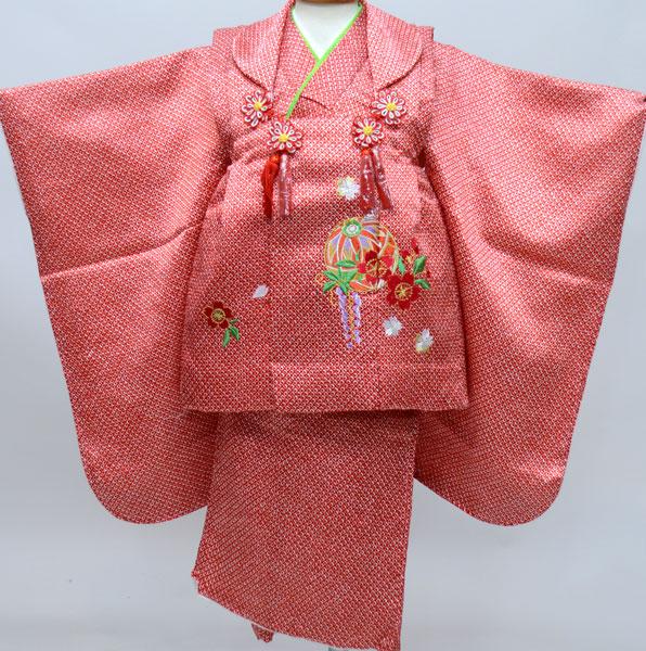 七五三 3才 3歳 三才 女児 三歳 被布祝着着物フルセット 総柄鹿子模様 刺繍入り 被布と着物生地は日本製 アセテート90% ナイロン10% 新品(株)安田屋 b295659812