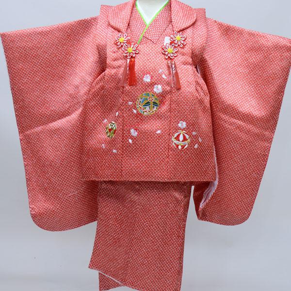 七五三 3才 3歳 三才 女児 三歳 被布祝着着物フルセット 総柄鹿子模様 刺繍入り 被布と着物生地は日本製 アセテート90% ナイロン10% 新品(株)安田屋 b295659808