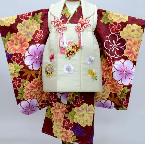 七五三 3才 3歳 三才 三歳 女児 女の子 刺繍被布着物フルセット 千紫万紅 祝着 ポリエステル 新品(株)安田屋 l429294656