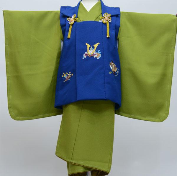 七五三 3歳 3才 三歳 三才 男の子 三歳 男児 被布着物フルセット 兜刺繍 新品(株)安田屋 d270409001