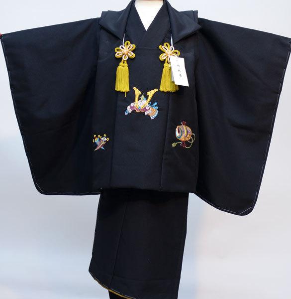 七五三 3歳 3才 三歳 三才 男の子 男児 被布 着物フルセット 日本製 黒無地 被布に金刺繍 新品(株)安田屋 369719787