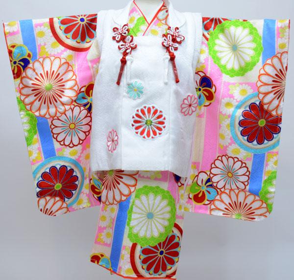 七五三 3才 3歳 三才 三歳 正絹 女児 女の子 被布着物祝着フルセット 日本製 紅一点 新品(株)安田屋261281423