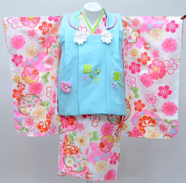 七五三 3才 3歳 三才 三歳 女児 女の子 被布着物祝着フルセット 式部浪漫 日本製 白地 新品(株)安田屋e240656316