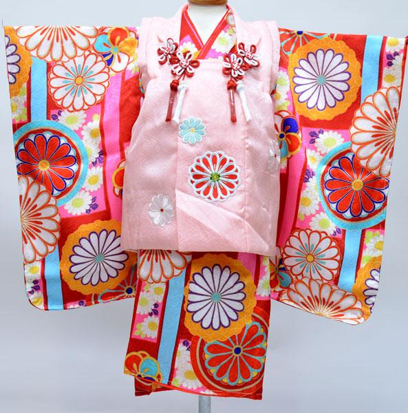 七五三 3才 3歳 三才 三歳 正絹 日本製 女児 女の子 被布着物祝着フルセット 紅一点 新品(株)安田屋b304392654