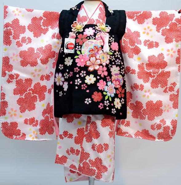 七五三 3才 3歳 三才 三歳 女児 女の子 被布着物祝着フルセット 日本製 疋田柄 合繊 新品(株)安田屋u212942328