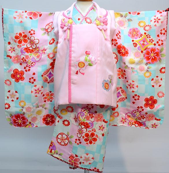 七五三 3才 3歳 三才 三歳 女児 女の子 被布着物祝着フルセット 被布に刺繍入り 生地・染色は日本製 縫製は海外製 新品(株)安田屋c673788285