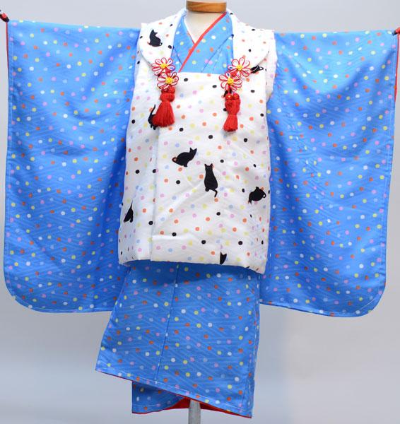 七五三 3才 3歳 三才 三歳 女児 女の子 被布着物祝着フルセット 日本製 猫柄と水玉模様 かぐら 新品(株)安田屋 r269091075