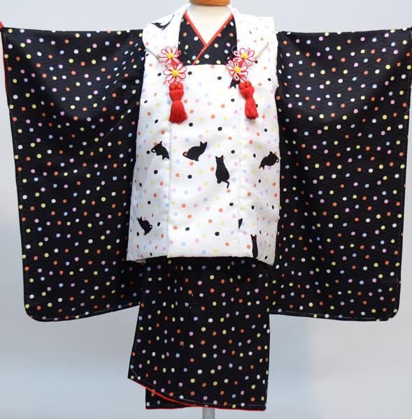 七五三 3才 3歳 三才 三歳 女児 女の子 被布着物祝着フルセット 日本製 猫柄と水玉模様 かぐら 新品(株)安田屋 r269091079