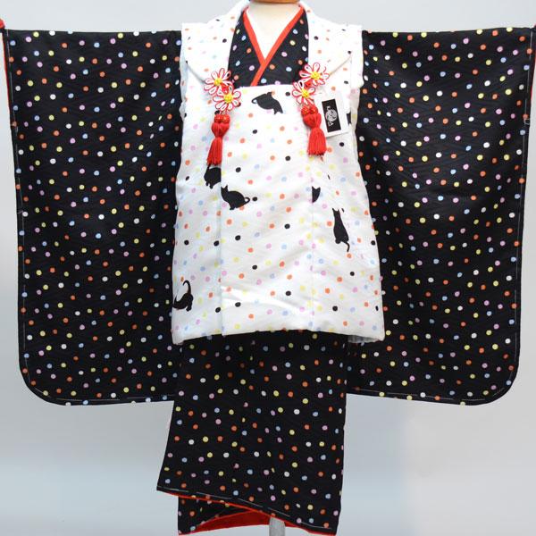 七五三 3才 3歳 三才 三歳 女児 女の子 被布着物祝着フルセット 日本製 猫柄と水玉模様 かぐら 新品(株)安田屋 r269091083