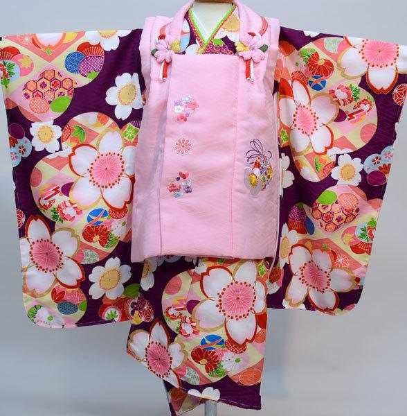 七五三 3才 3歳 三才 三歳 女児 女の子 被布着物祝着フルセット 日本製 式部浪漫 ポリエステル 新品(株)安田屋p670245913