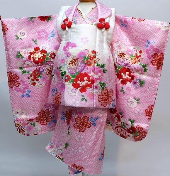七五三 3歳 3才 三歳 三才 女児 女の子 正絹 被布 着物フルセット 半衿縫付け済み 足袋付き 花ひめ 新品(株)安田屋 b376719423