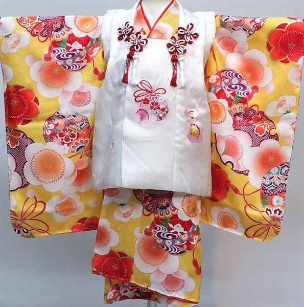 七五三 3才 3歳 三才 三歳 正絹 女児 女の子 被布着物フルセット 日本製 紅一点 祝着 新品(株)安田屋h383815832