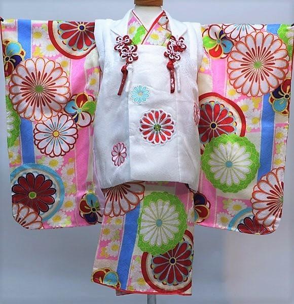 七五三 3才 3歳 三才 三歳 正絹 女児 女の子 被布着物フルセット 日本製 紅一点 祝着 新品(株)安田屋l510844698