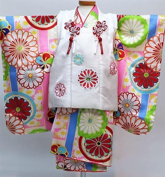七五三 3才 3歳 三才 三歳 正絹 女児 女の子 被布着物フルセット 日本製 紅一点 祝着 新品(株)安田屋d350209635