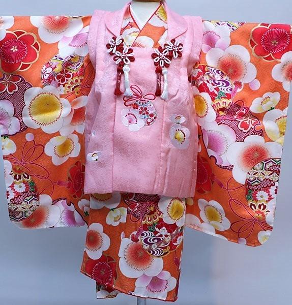 七五三 3才 3歳 三才 三歳 正絹 女児 女の子 被布着物フルセット 日本製 紅一点 祝着 新品(株)安田屋x603547374