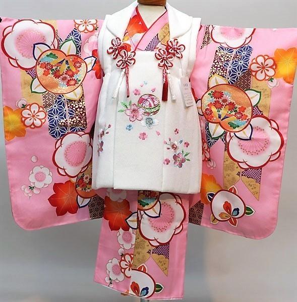 七五三 3才 3歳 三才 三歳 女児 女の子 被布 着物フルセット 祝着 被布と着物生地は日本製 染め加工日本 縫製と長襦袢は海外 新品(株)安田屋 k374295160