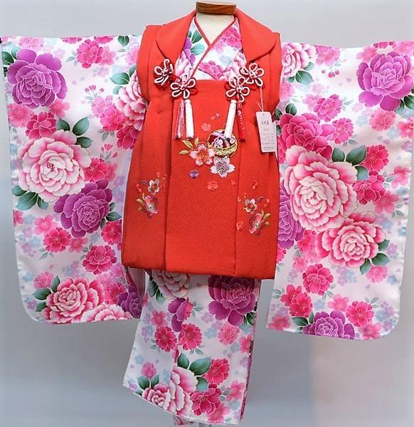 七五三 3才 3歳 三才 三歳 女児 女の子 被布 着物フルセット 祝着 被布と着物生地は日本製 染め加工日本 縫製と長襦袢は海外 新品(株)安田屋 l512412938