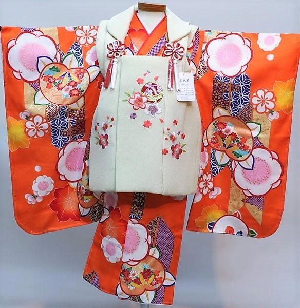 七五三 3才 3歳 三才 三歳 女児 女の子 被布 着物フルセット 祝着 被布と着物生地は日本製 染め加工日本 縫製と長襦袢は海外 新品(株)安田屋 d351377041