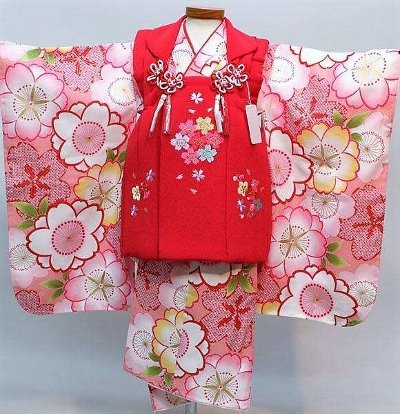 七五三 3才 3歳 三才 三歳 女児 女の子 被布 着物フルセット 祝着 被布と着物生地は日本製 染め加工日本 縫製と長襦袢は海外 新品(株)安田屋 m322338854
