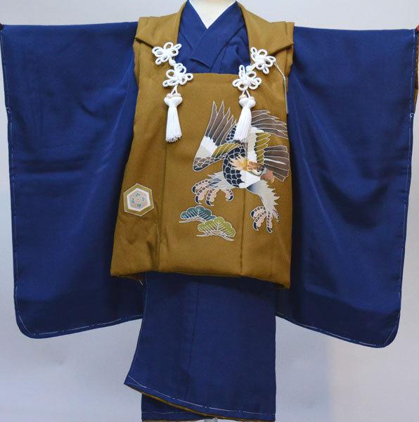 七五三 3歳 3才 三歳 三才 男の子 男児 日本製 正絹 被布 着物フルセット 紺地 新品(株)安田屋 c753214970