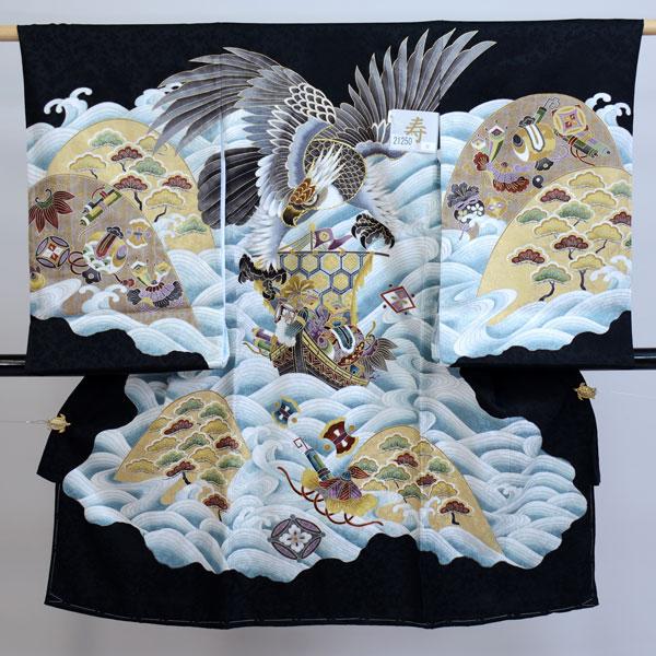 お宮参り産着 男児 男の子 正絹 のしめ 着物 祝着 初着 一つ身 綸子 新品 (株)安田屋 x441972460