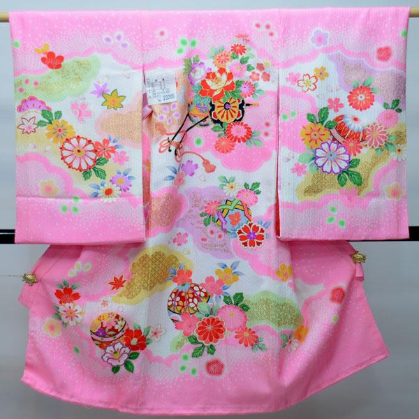 お宮参り産着 女児 女の子 正絹 のしめ 祝着 着物 一つ身 初着 機械総絞り 新品(株)安田屋 s502005349