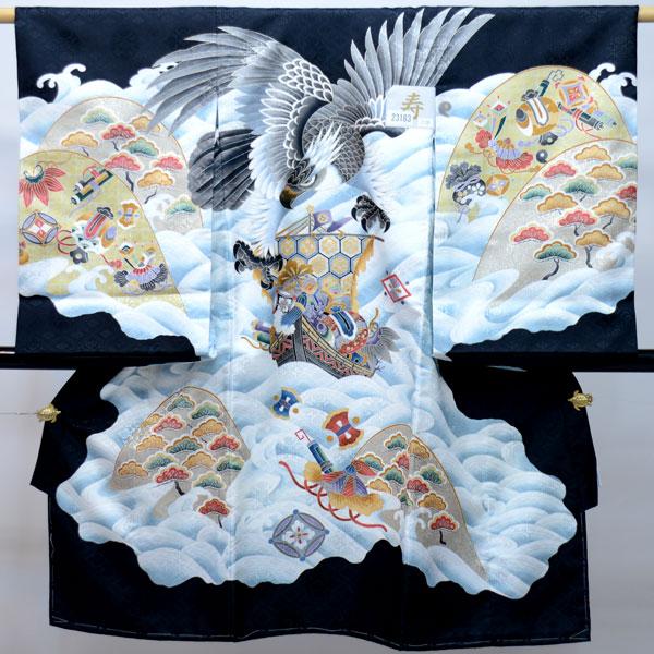 お宮参り産着 男児 男の子 のしめ 一つ身 祝着 合繊 黒地 新品 (株)安田屋 g189461719