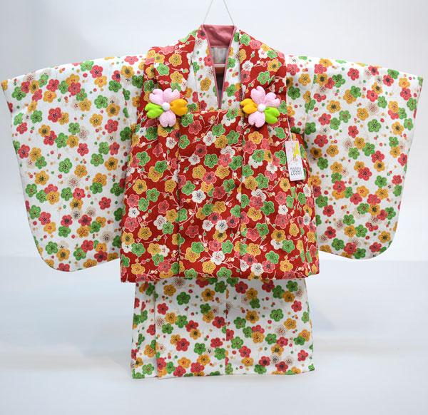 一つ身 二部式 被布着物セット 日本製 ベビー用 女児 女の子 ちりめん風合い ポリエステル100% 新品(株)安田屋 l463525827