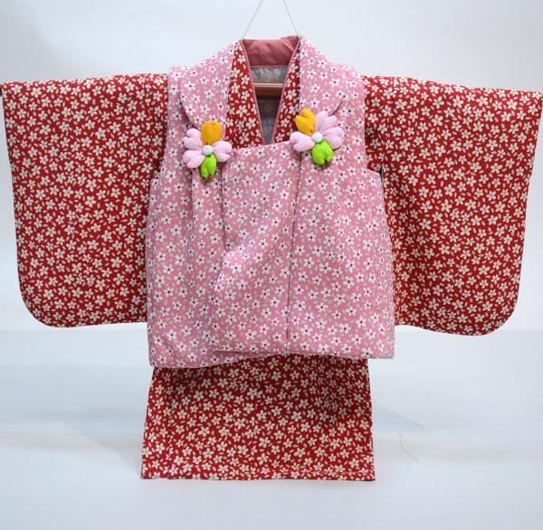一つ身 二部式 被布着物セット 日本製 ベビー用 女児 女の子 ちりめん風合い ポリエステル100% 新品(株)安田屋 l463525819
