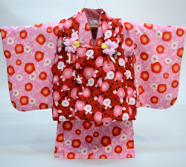 一つ身 二部式 被布着物セット 日本製 ベビー用 女児 女の子 ちりめん風合い ポリエステル100% 新品(株)安田屋 l463525823