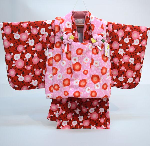 一つ身 二部式 被布着物セット 日本製 ベビー用 女児 女の子 ちりめん風合い ポリエステル100% 新品(株)安田屋 l463525799