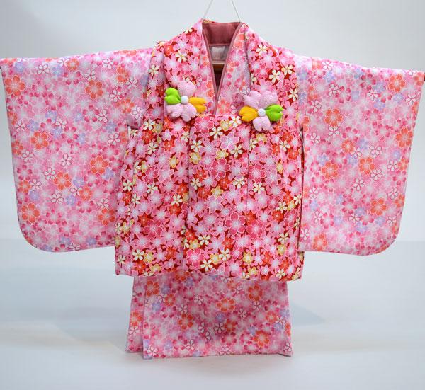 一つ身 二部式 被布着物セット 日本製 ベビー用 女児 女の子 ちりめん風合い ポリエステル100% 新品(株)安田屋 l463525807