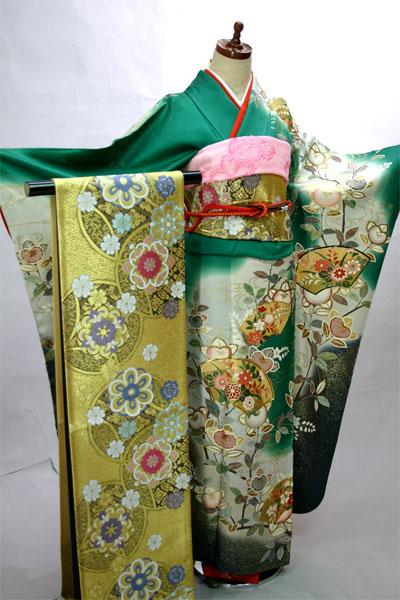 振袖フルセット 正絹 着物 扇面 7日間レンタル 小物まですべて揃う20点一式(株)安田屋 v676567353