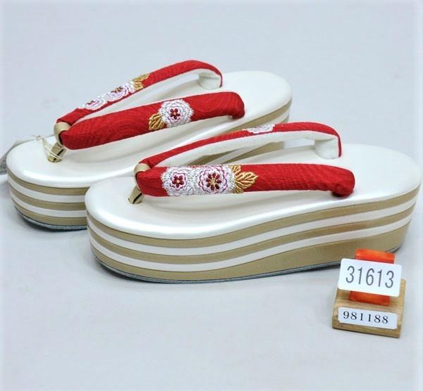 草履 ヒール高 日本製 踵5段 万寿菊刺繍 赤色 フリーサイズ 適合足サイズ23.5cm~24.5cm 新品(株)安田屋 o342058784
