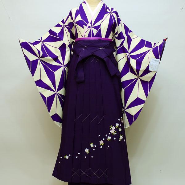 二尺袖着物袴フルセット 幾何学模様 着物生地は日本製 縫製と袴は海外 着物丈は着付けし易いショート丈 袴変更可能 新品(株)安田屋 399107446