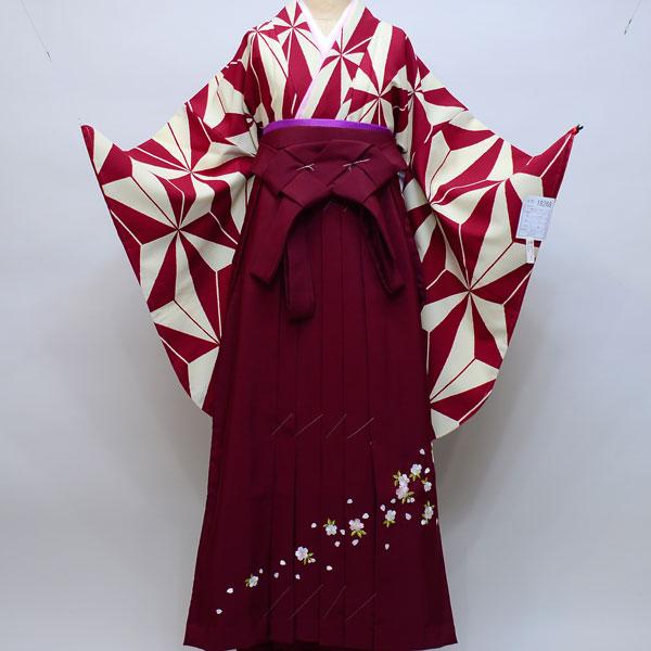 着物袴セット ジュニア用へ直し144cm~150cm 幾何学模様 着物生地は日本製 縫製と袴は海外 新品 (株)安田屋 k341282412