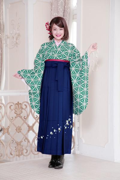 二尺袖着物袴フルセット 麻の葉柄 着物丈は着付けし易いショート丈 卒業式に 新品(株)安田屋 c612749445