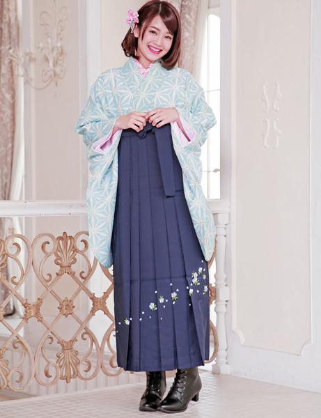 着物袴セット ジュニア用へ直し144cm~150cm 麻の葉柄 袴色選択可能 卒業式にどうぞ! 新品 (株)安田屋 f239874937