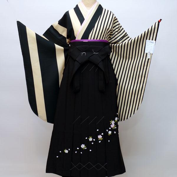 二尺袖 着物 袴フルセット 半身仕立て 縦縞 着物生地は日本製 袴と縫製は海外 袴変更可能 着物丈はショート丈 卒業式に 新品 (株)安田屋 j542082032