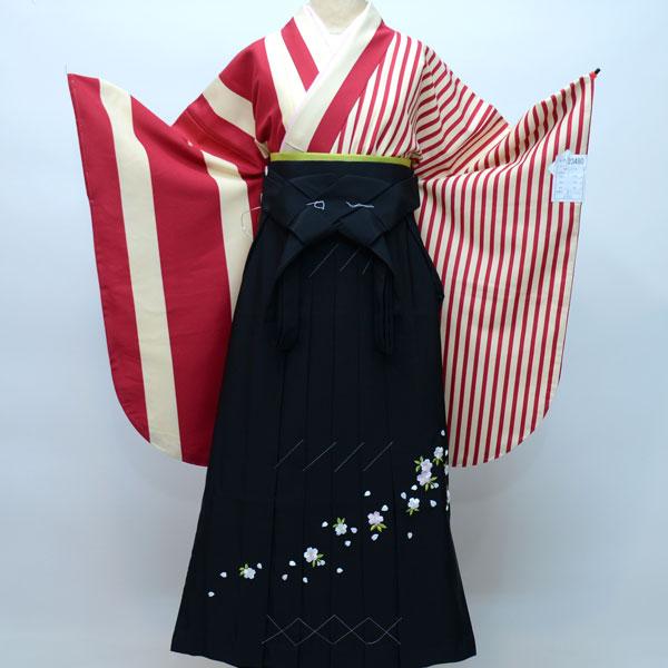 着物袴セット ジュニア用へ直し144cm~150cm 半身仕立て 縦縞 着物生地は日本製 袴と縫製は海外 卒業式にどうぞ! 新品 (株)安田屋 261796594