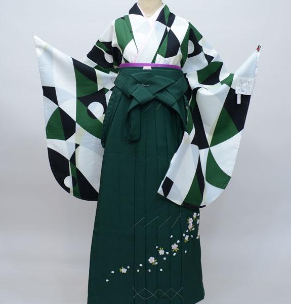 着物袴セット ジュニア用へ直し135cm~143cm 幾何学模様 着物生地は日本製 袴と縫製は海外 新品(株)安田屋 s574874059
