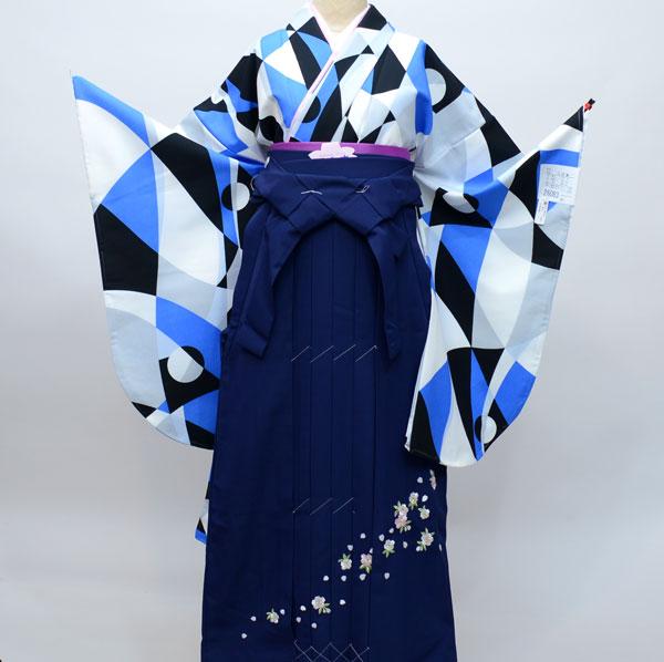 二尺袖着物袴フルセット 幾何学模様 着物生地は日本製 袴と縫製は海外 袴色変更可能 ショート丈 新品(株)安田屋 r310533704